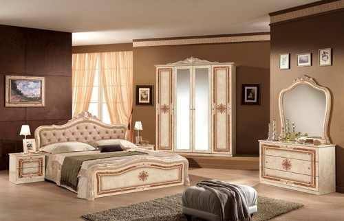 Dormitor italian clasic bej lucios cu pat tapitat luisa for Chambre a coucher istikbal